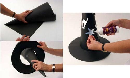 como hacer gorro disfraz de bruja